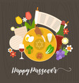 happy passover with seder plate vector image vector image