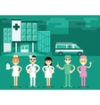 health workers in hospital background vector image