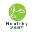 healthy greneery leaves green circle background ve vector image vector image