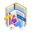 isometric audiobooks online concept woman vector image vector image