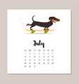 july dog 2018 year calendar vector image vector image