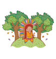 man indigenous with trees and autumn leaves vector image vector image