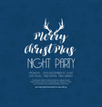 merry christmas night party blue snowflake vector image vector image