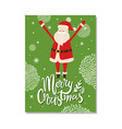 merry christmas postcard with santa claus winter vector image vector image