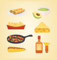 mexican cuisine cartoon dishes set vector image vector image