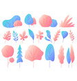 minimal flat leaves with gradients color vector image