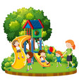 mother and children at playground vector image vector image