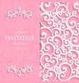 Pink 3d Vintage Invitation Card with Swirl vector image vector image