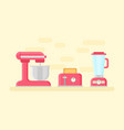 retro kitchen devices in flat style vector image vector image