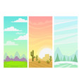 set cartoon simple nature vertical landscapes vector image