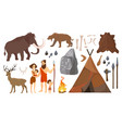 stone age people with vector image vector image