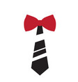 striped necktie with bowtie icon vector image