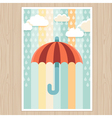 striped umbrella and rain drops vector image vector image