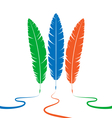 Three colored feathers vector image