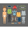 Tourist Boy Paper Doll with Clothes and Shoes vector image vector image