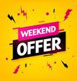 weekend offer label modern dynamic sales banner vector image vector image