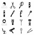 Hairdressing simple icons set vector image