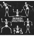 Collection of drunken skeletons in different poses vector image
