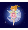 A fairy with a pink dress near the moon vector image vector image