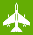 armed fighter jet icon green vector image vector image