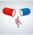 blue and red capsule painkillers antibiotics vector image vector image
