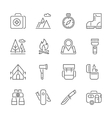 camping hiking nature outdoor activities icons vector image vector image