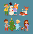 christmas kids character playing winter vector image vector image