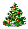 christmas tree with decorations gift boxes vector image