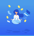 creative a levitating woman with coins vector image