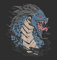 dragon head blue colour angry face artwrork detail vector image