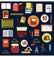 Education flat icons with school supplies vector image