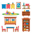 flat of toys and furniture vector image vector image