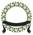 flower laurel wreath frame-ribbon vector image