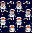 fox astronaut and stars in space seamless pattern vector image vector image