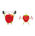 funny apple and strawberry characters working out vector image