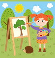 girl draws on canvas in the forest vector image vector image