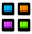 glowing neon server data web hosting icon vector image vector image