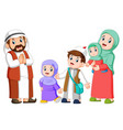 happy arab family couple with children vector image vector image