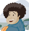 happy kid with basket ball cartoon vector image
