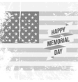 Happy Memorial Day Text and Ribbon on USA Flag vector image vector image