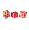 letter J wooden alphabet blocks vector image vector image