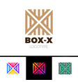 linear letter x logo monogram in line box or cube vector image vector image