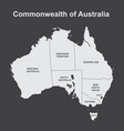 map of australia with internal regional boundaries vector image vector image