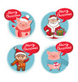 merry christmas flat icons set with funny pig vector image vector image