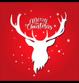 merry christmas postcard white deer silhouette on vector image vector image