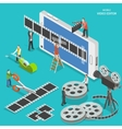 Mobile video editor flat isometric concept vector image vector image
