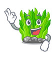 okay green seaweed isolated with the character vector image