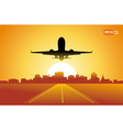passenger airplane fly up over take-off runway vector image