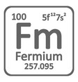 periodic table element fermium icon vector image vector image