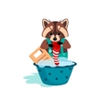 Raccoon Washes Clothes on the Washboard vector image vector image